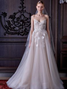 Monique Lhuillier nude lingerie tulle wedding dress with Chantilly lace from Spring 2016