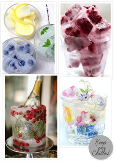 Keep those cocktails chilled with pretty tasty ice cube creations.
