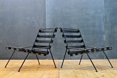 Iason-Cross Steel Belted Lounge Chairs : 20th Century Vintage Industrial Modern50 Style