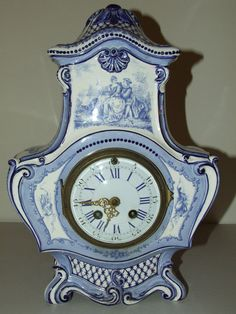 ANTIQUE WORKING 1800's JAPY FRERES FRENCH VICTORIAN DELFT PORCELAIN MANTEL CLOCK #FrenchVictorianGothicBaroque