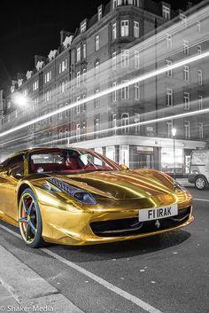 Gold Chrome Ferrari 458 Spyder