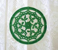 Crochet Ornament  Leafy Green Mandala by CaitlinSainio on Etsy, $16.00