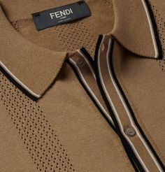 Fendi - Contrast-Tipped Perforated Stretch-Knit Polo Shirt Mens Designer Polo Shirts, Mens Polo T Shirts, Polo Shirt Outfits, Polo Shirt Style, Polo Outfit, Polo Shirt Design, Fashion Brand, Mens Fashion, Golf Wear