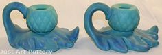 Arts and Crafts Period- Van Briggle Pottery 140s Acorn and Leaf Candle Holders from Just Art Pottery