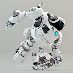 White turtle robot running.Strongrobotic turtlewith glowing circle moving,3d render.