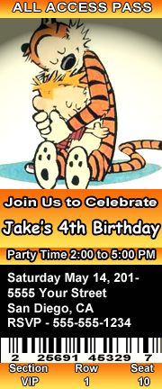Calvin and Hobbes Birthday Party Ticket Style Invitations Personalized