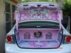 Hello Kitty inside trunk! Should totally do this before mike gets back :D