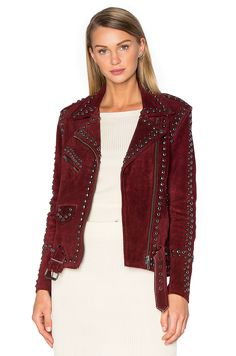 $700 ish - For Love & Lemons Jameson Suede Jacket in Burgundy