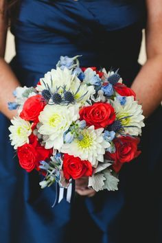Nautical bouquet!!! Red roses, white daisy mums, delphinium, and eryngium (one of my favorites).