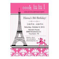 Paris Eiffel Tower Theme Birthday Party Pink Cards
