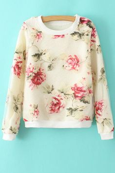 Floral Print Voile Splicing Sweatshirt