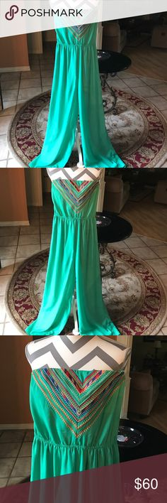 🇺🇸Strapless Jumpsuit green w/embroidery accent 🆕 Strapless Jumpsuit green with embroidery accent                                                                  Length from shoulder 53 inches, with garterize strapless.                                                            Perfect condition! NO TRADE! Kindly check more Bags, Shoes,tops,skirts,dress etc. Waiting for you! Alya Other