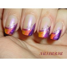 Purple orange yellow design Nail Art Gallery ❤ liked on Polyvore featuring nails