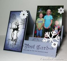 Stair Step Photo Card by ChristineCreations - Cards and Paper Crafts at Splitcoaststampers Fancy Fold Cards, Folded Cards, Center Step Cards, Side Step Card, Stepper Cards, Christmas Cards, Merry Christmas, Christmas Decorations, Card Book