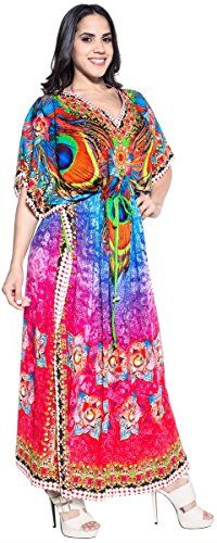 Designer Peacock Feather Kimono Maxi Beach Dress Long Caftan Cover Up Pink Valentines Day Gifts 2017 -- Read more at the image link. Maternity Swimwear, Maternity Wear, Plus Dresses, Casual Dresses For Women, Digital Print Textiles, Beach Kaftan, Pregnancy Outfits, Handmade Dresses, Beach Dresses