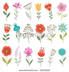 Find Set Colorful Flowers Isolated On White stock images in HD and millions of other royalty-free stock photos, illustrations and vectors in the Shutterstock collection. Thousands of new, high-quality pictures added every day. Folk Art Flowers, Colorful Flowers, Flower Art, Flower Blossom, Flowers Garden, Flower Mural, Art Floral, Motif Floral, Doodle Drawing