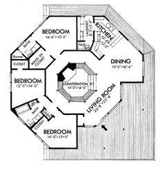 1 Floor, 3BR & 2baths, but eliminate the conersation pit and put a pantry/storage room somewhere . . .