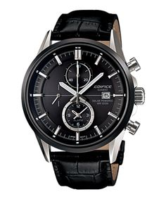 Casio Men's Edifice Black Leather Quartz Watch with Black Dial Cool Watches, Watches For Men, Men's Watches, Unique Watches, Wrist Watches, Casio Edifice, Wear Watch, Hand Watch, Casio Watch