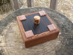 Ring box / exotic wood with glass tiles by ShapelyWood on Etsy, $50.00