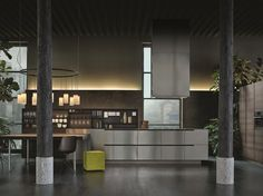 Steel and wood kitchen with peninsula PHOENIX by Varenna by Poliform