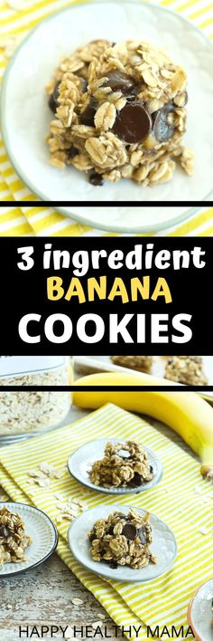 Need a healthy way to satisfy your sweet tooth? These 3-ingredient Banana Cookies are the BEST. Quick, easy, and delicious. Everyone loves these super healthy cookies! Great for snacks or heck even breakfast. WHY NOT? Must try this recipe!! Healthy Cookie Recipes, Healthy Cookies, Healthy Desserts, Snack Recipes, Free Recipes, Healthy Food, Happy Healthy, Eating Healthy, Drink Recipes