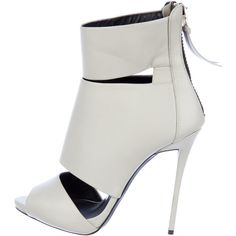 Pre-owned Giuseppe Zanotti Cutout Ankle Boots (3,090 EGP) ❤ liked on Polyvore featuring shoes, boots, ankle booties, grey, short leather boots, leather peep toe booties, grey ankle boots, gray ankle boots y leather booties