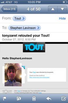 Tonyzaret retouting my tout on Touter.