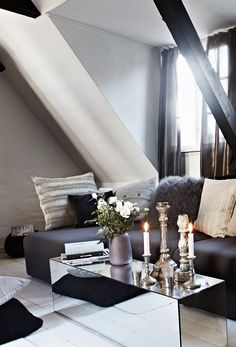 Mirrored Coffee Table And Grey Tones