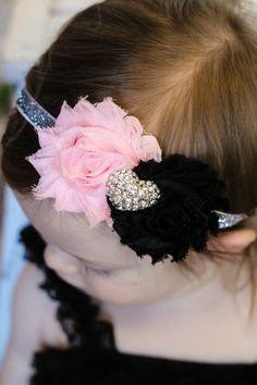 Valentines Headband Shabby Baby Headband Pink Black heart baby bow newborn headband toddler headband