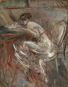 Giovanni Boldini - Study of Young Woman Writing, 1920