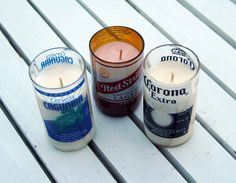 Soy Candles in Upcycled Beer Bottle Glasses by TheWineThief, $10.00