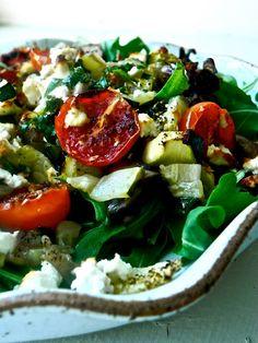roasted vegetable and argula salad