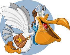Cartoon pelican Royalty Free Stock Vector Art Illustration