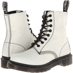 Dr. Martens Pascal 8-Eye Boot Lace-up Boots, White ($80) ❤ liked on Polyvore featuring shoes, boots, ankle booties, white, leather upper boots, white boots, lace front boots, dr martens boots and white lace up booties