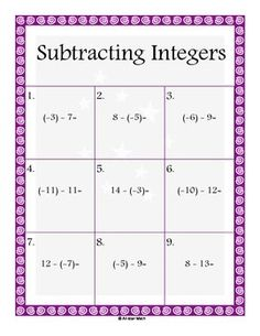 I have created 10 worksheets, including a key for each, to work on subtracting integers.  This is a tough concept for 6th grade students, so I wanted lots of EXTRA practice.  I use these during tutorials, as extra skill practice during my classes, and/or as a warm-up activity.