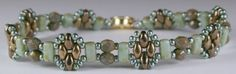 Deb Roberti's FREE Stackers bracelet pattern done in pale turquoise and bronze.