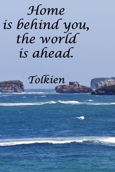 """""""Home is behind you, the world is ahead.""""  J.R.R. Tolkien – ON VIEW OUT TO SEA FROM AUSTRALIA'S ICONIC GREAT OCEAN ROAD --  Explore journey quotes at http://www.examiner.com/article/travel-a-road-of-literate-quotes-about-the-journey"""