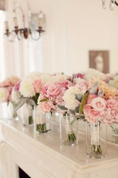Pink and White Peony, Dusty Miller Bouquet (Bridesmaid bouquets)