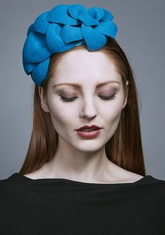 Rachel Trevor Morgan Millinery AW 2016 | R16W29 - Teal felt petal headdress on Alice band