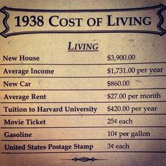 The cost of living sure has changed since Retro Advertising, Advertising Signs, Vintage Advertisements, History Timeline, History Facts, Vintage Menu, Vintage Ads, Cost Of Living, I Remember When