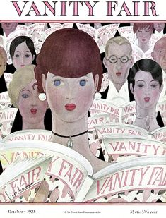 1928 October cover of Vanity Fair by Georges Lepape Vanity Fair Magazine, Magazine Art, Magazine Covers, Hallway Art, Faia, Fashion Collage, Vintage Ads, Vintage Vanity, Illustrations And Posters