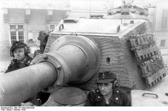 Close-up view of the turret of a Tiger II heavy tank, Budapest, Hungary, Oct 1944
