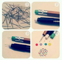 Easy DIY nail tools. Just need a pencil eraser and some pins!