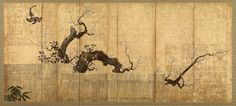 Blossoming Plum and Camellia in a Garden Landscape. Japanese folding Screen (six-panel). Artist: Koi. Edo period. Freer.