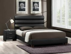 Aven Contemporary Black Upholstered Queen Platform Bed