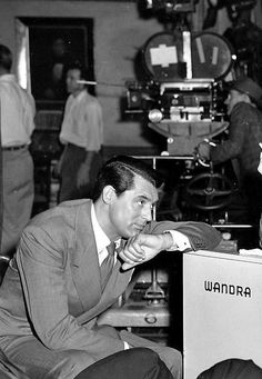 """Cary Grant on set for """"Penny Serenade"""""""