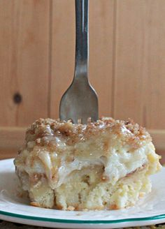 Stuffed cinnamon roll bake. This is essentially one giant cinnamon roll with cream cheese filling. Give this a try for your next brunch, special dessert or heck..be brave and have it for breakfast.