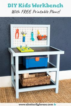 This DIY Kids Workbench is perfect for your budding builder!  The childrens toolbench tutorial has step by step photos and comes with free printable plans! #woodworking