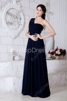 Cheap Dark Navy Chiffon One Shoulder A-line Full Length Prom Dresses With Draped #DesignerDress #CheapDress  #MaxiDresses  #EveningDresses #PlusSizeMaxiDresses  #Fashion  #PromDress