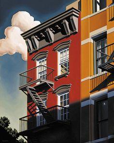"Kenton Nelson, ""The Shadow of a Working Man's Home"", oil on canvas #kentonnelson #americanpainter #contemporaryart #oilpainting #architectural #fireescape #cityscape #apartmentbuilding #redandorange #bluesky #puffyclouds"